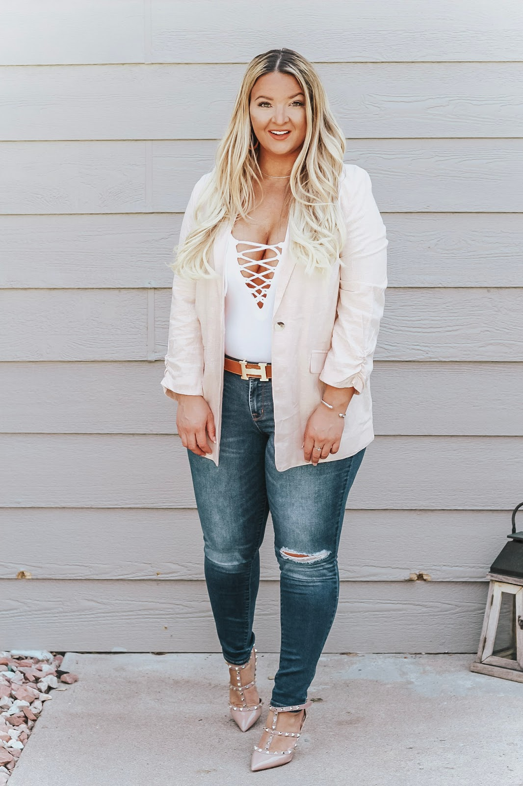 Pink Blazer and Jeans outfit featured by top Denver fashion blog, Delayna Denaye