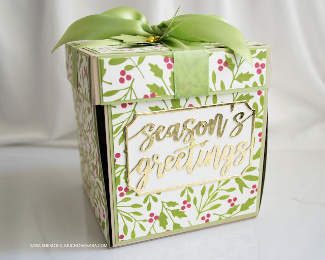 This explosion box, and the ornament inside, were created using stamps and dies from the Concord & 9th Holly Berry bundle.  Find the full details, including supply list, on the blog.