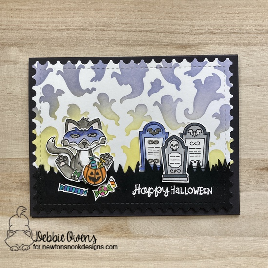 Happy Halloween by Debbie features Trick or Treat Kittens, Count Newton, Batty Newton, Land Borders, Framework, and Ghosts by Newton's Nook Designs; #inkypaws, #newtonsnook, #halloweencards, #cardmaking, #catcards