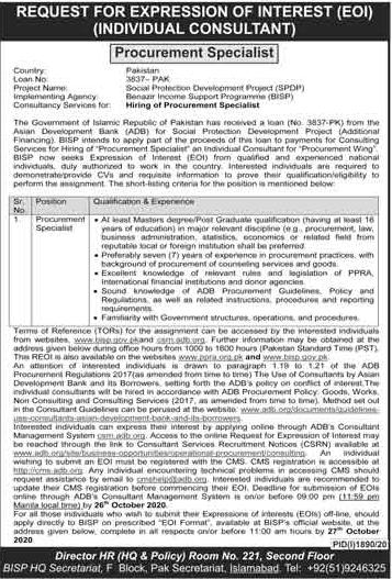 Benazir Income Support Programme BISP Latest Job Advertisement in Pakistan - Apply Online - www.bisp.gov.pk