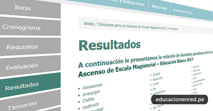 MINEDU: Resultados Finales Concurso de Ascenso de Escala Magisterial 2017 (20 Diciembre) www.minedu.gob.pe