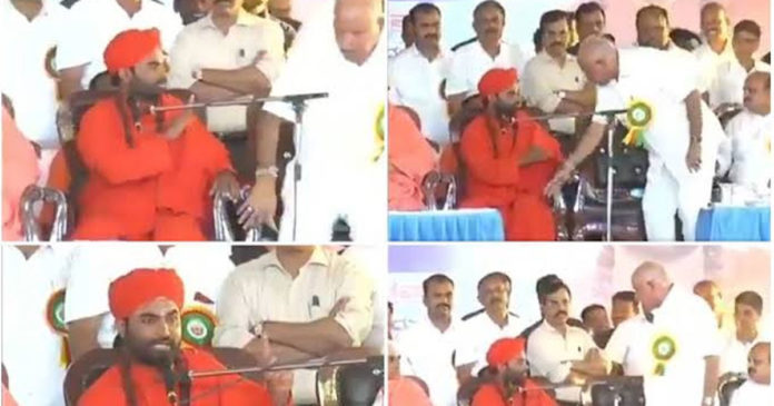 Asked for a ministerial post in public; There is no interest in sitting in this chair; Yeddyurappa horns with spiritual teacher Vachchananda Swamy,www.thekeralatimes.com