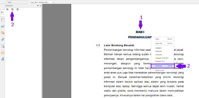 Membuat Bookmark dari File PDF yang Sudah Dibuat
