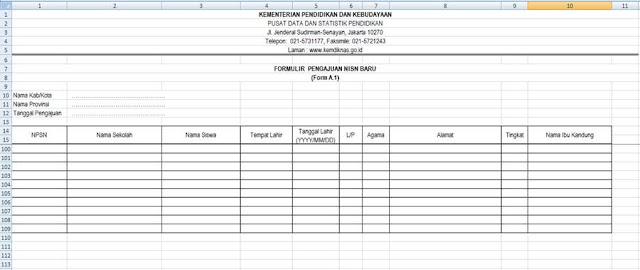 Format Formulir A.1 Pengajuan NISN Baru