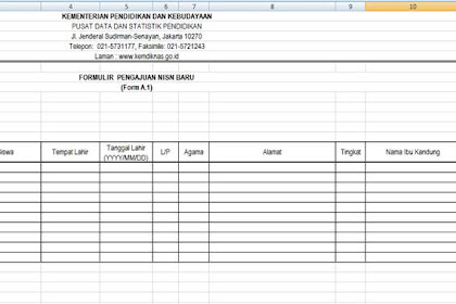 Format Formulir A.1 - Pengajuan NISN Baru