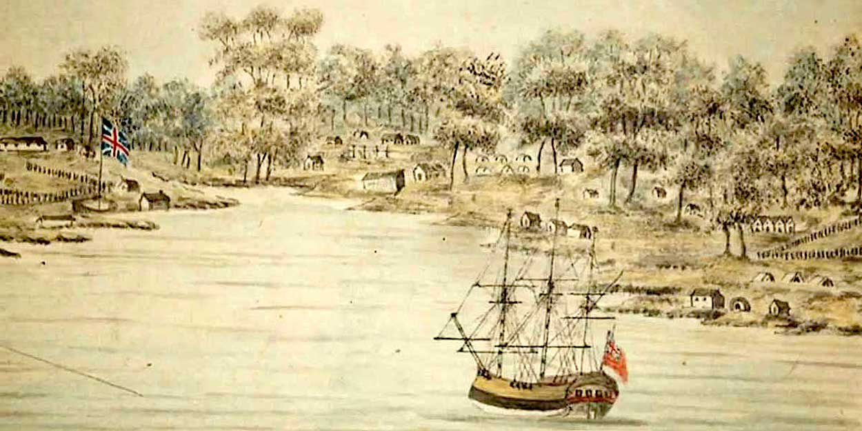 Convict ship arriving at Sydney Cove