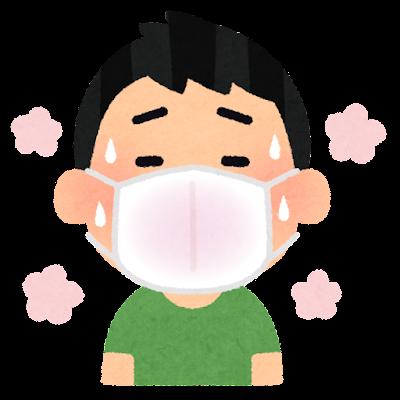 マスクが蒸れる人のイラスト(男性)