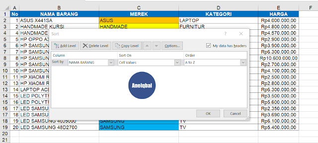 cara mengurutkan data di excel dengan custom sort