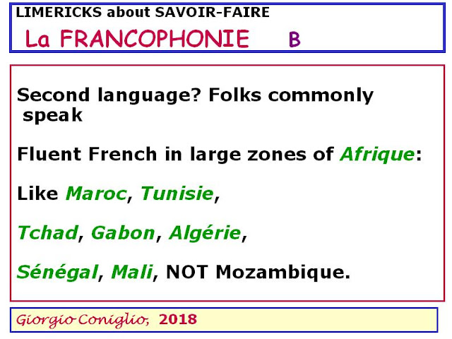 limerick; French language; international organizations; Giorgio Coniglio