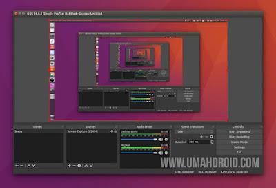 Tampilan Menggunakan OBS Studio di Linux