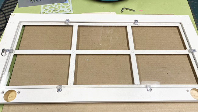 back of cabinet door with glass