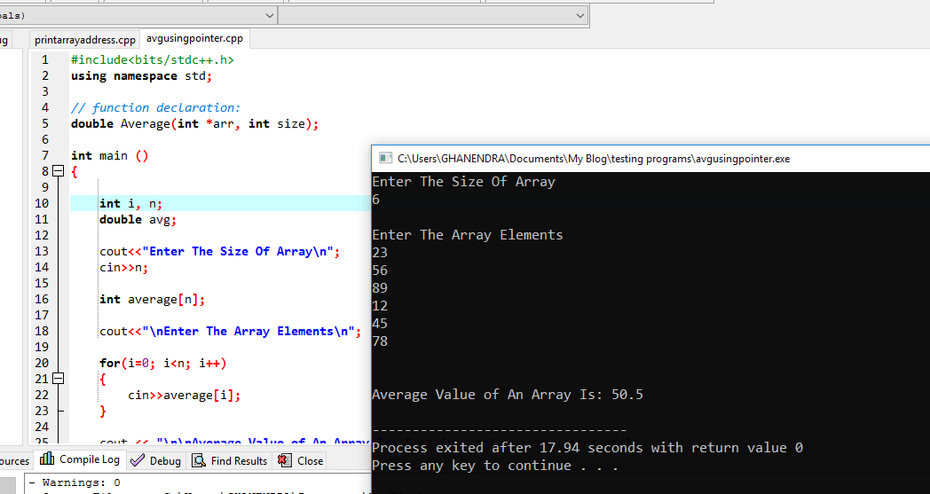 C++ Program To Find Average of An Array Elements Using Pointers