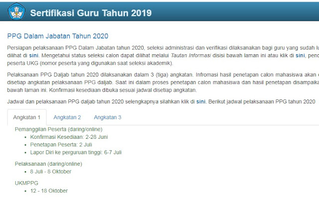 Jadwal PPG 2020 Sertifikasi Guru 2019