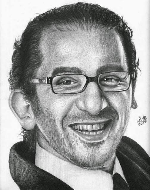 صوره احمد حلمى رسم بالقلم الرصاص