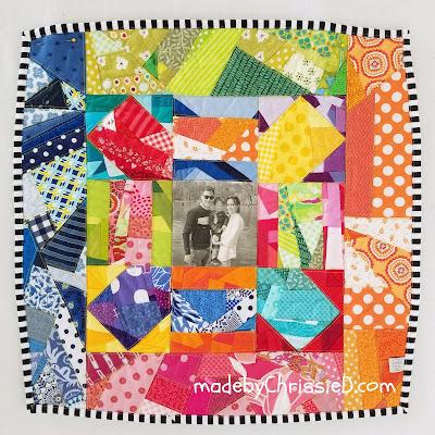 Rainbow Scrappy Cushion by www.madebyChrissieD.com