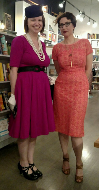 Gail Carriger Retro 1950's eShakti Coral Pink Lace with Brown in Chicago & New York (Imprudence Tour Outfits)