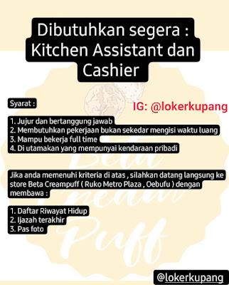 Lowongan Kerja Beta Creampuff Sebagai Kitchen Assistant & Cashier