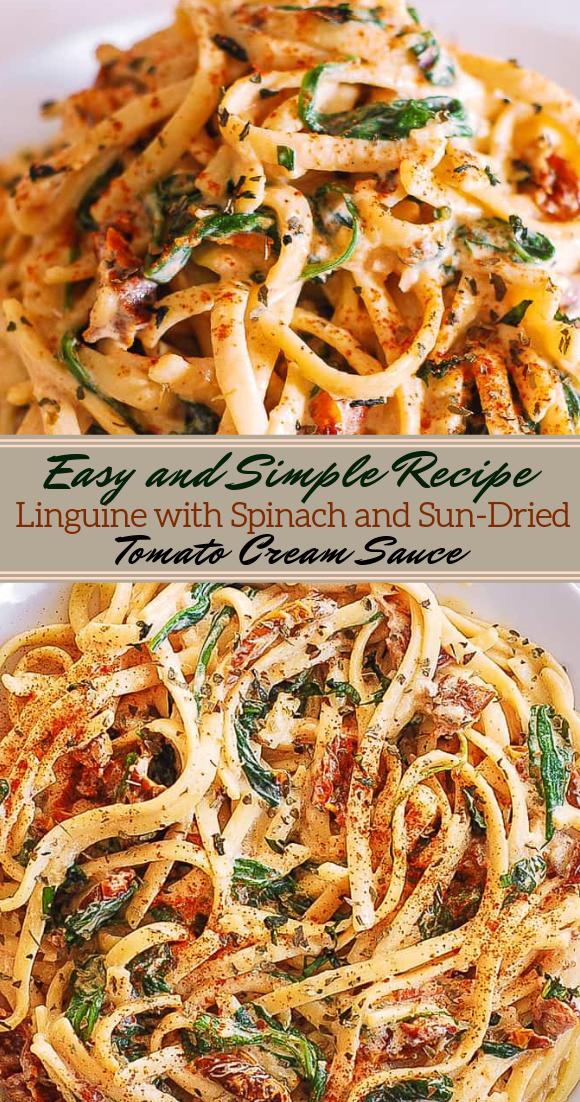 Linguine with spinach and sun-dried tomato cream sauce #dinnerrecipe #food #amazingrecipe #easyrecipe