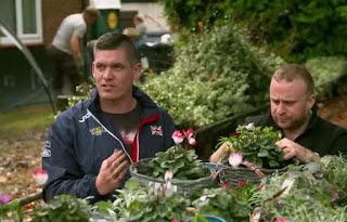 Scott and Jack plant up some hanging baskets