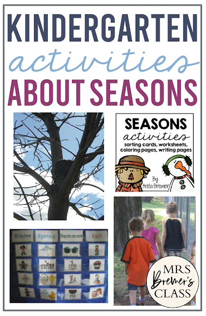 Seasons unit of activities, worksheets, and coloring pages for Kindergarten and First Grade to learn about the 4 Seasons and their differences