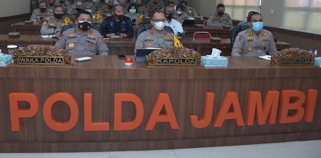 Kapolda Jambi Pimpin Vicon Kesiapan Pengamanan Pilkada Serentak Tahun 2020 Provinsi Jambi