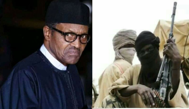"Alt: = ""photo showing president Buhari and bandits"""