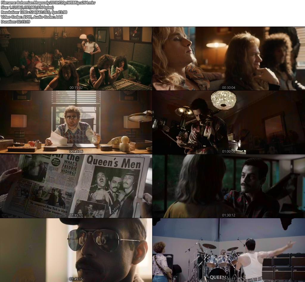 Bohemian Rhapsody 2018 720p WEBRip x264   480p 300MB   100MB HEVC Screenshot
