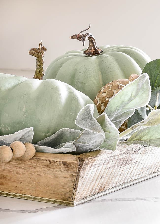 Chalk painted faux pumpkins