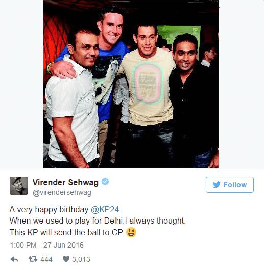 Virender Sehwag wishing birthday to Kevin Pietersen
