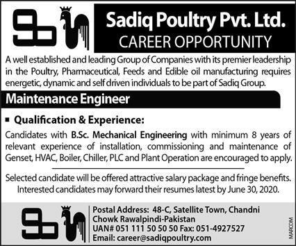 Sadiq Poultry Pvt Rawalpindi Jobs