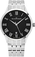 Alexander Black Dial Stainless Steel Swiss Made Slim 9.5 mm Men's Dress Watch