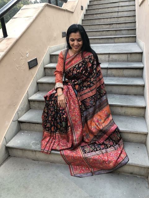 Floral Black kani saree