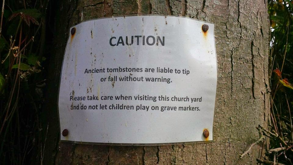 A notice in a graveyard in Niton on the Isle of Wight