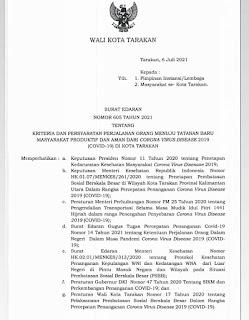 Surat Edaran Nomor 605 tahun 2021 tentang  Kriteria dan Persyaratan Perjalanan Orang