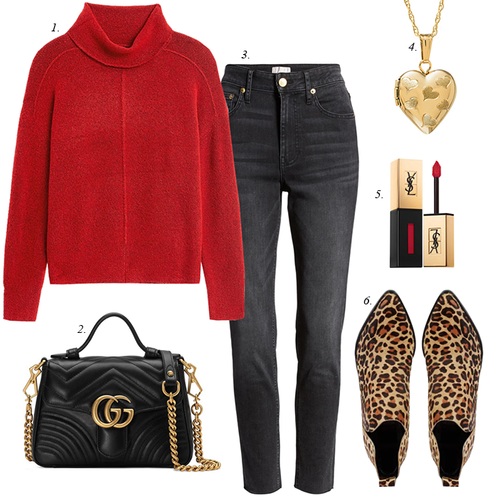 leopard booies, red sweater, grey jeans, heart locket, Gucci top handle bag