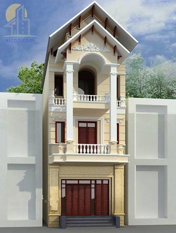 Mẫu nhà 3 tầng mái thái hiện đại kiểu nhà ống