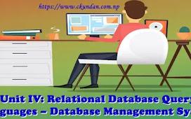 Unit IV: Relational Database Query Languages – Database Management System