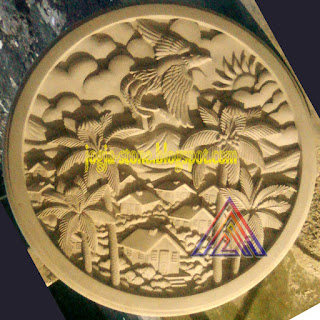 papan meja batu alam motif rumah