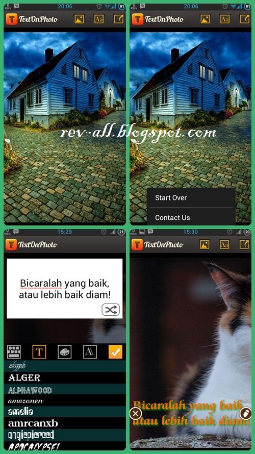 Screenshot tampilan Text on Photo - aplikasi android untuk menulis di foto dengan cerpat dan mudah (rev-all.blogspot.com)