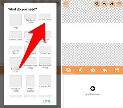 اختيار نوع المشروع الذي تنوي القيام به على تطبيق Logo Maker Plus