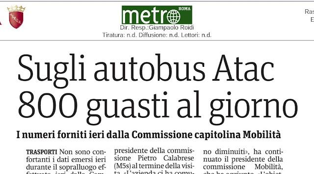 Situazione trasporto pubblico Roma mercoledì 10 luglio