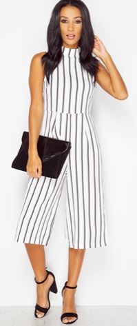 while with black strips jumpsuit