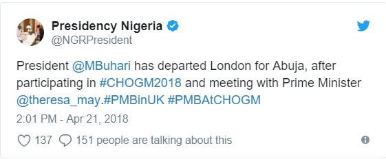 WATCH VIDEO..President Buhari departs London for Abuja after CHOGM 2018