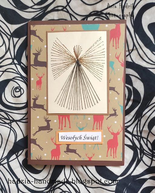 739. Brązowa kartka bożonarodzeniowa z wyszywanym aniołkiem