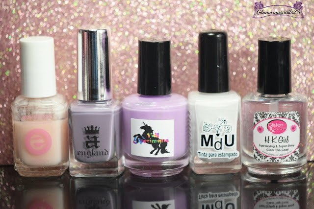 Essie Grow Stronger, AEngland Guinevere, Nail Experiments Easy Peel Latex Barrier, Mundo De Unas White, Glisten & Glow HK Girl Fast Drying Top Coat