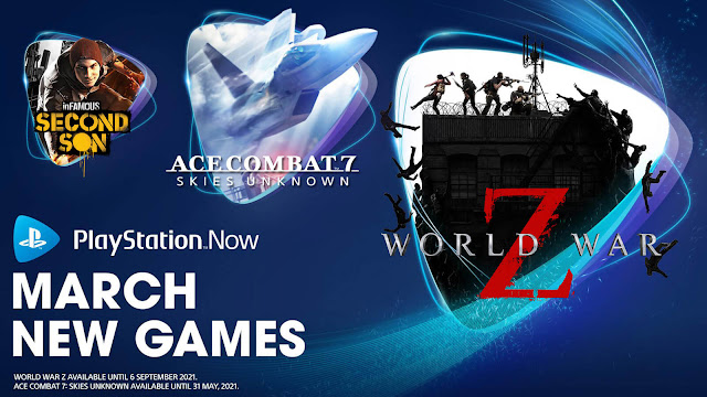 playstation now ace combat 7 skies unknown infamous second son superhot world war z ps4 lineup march 2021 sony