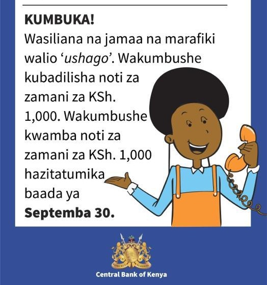 Kes1000 notes expiration deadline 30 September 2019