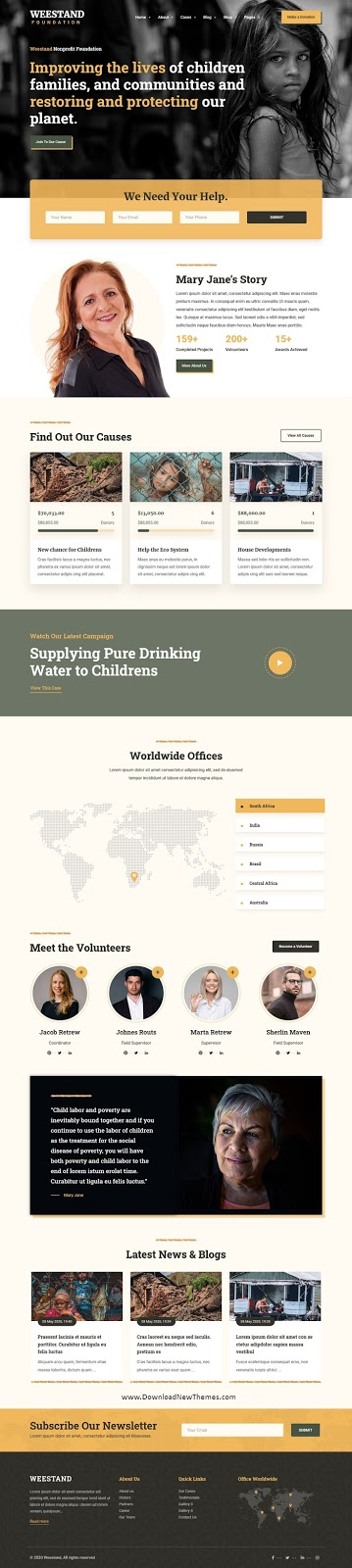 Charity Fundraising WordPress Template