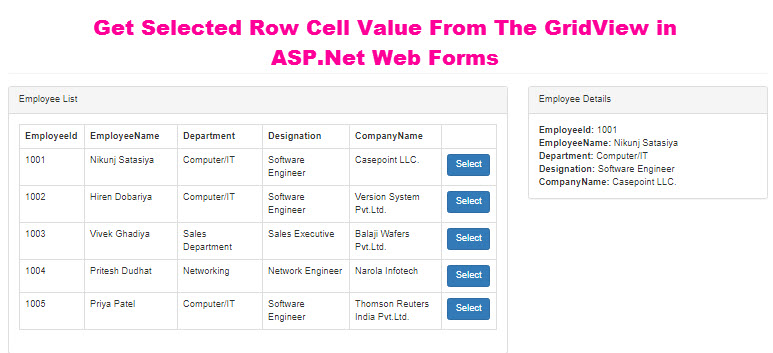 Get Selected Row Cell Value From The GridView