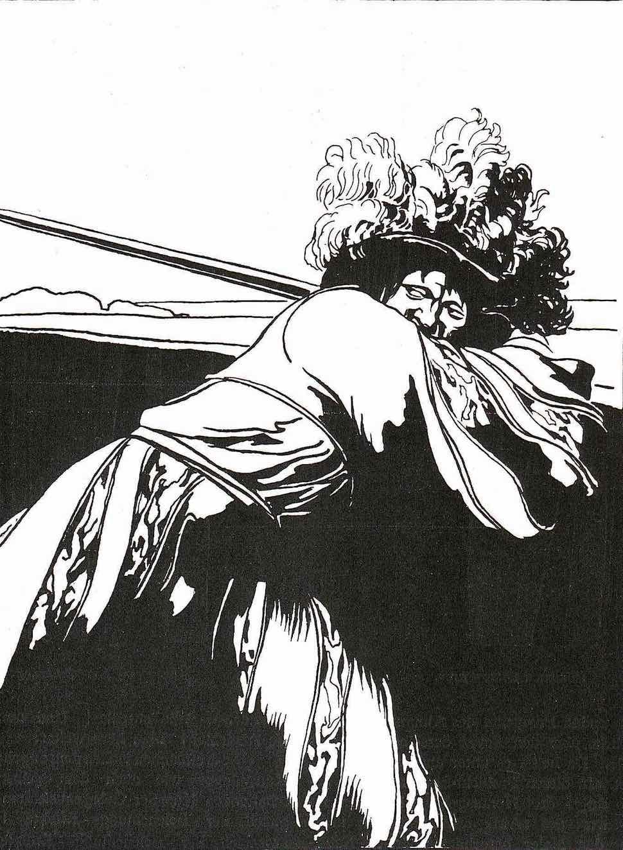 a Friedrich König 1900 illustration of a swordsman swinging